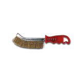 Wire Brush with Brass Coated Steel  (Red Plastic Handle)