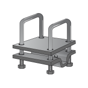 Clamp Complete with 2 Plates for Tube 100x100