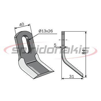 Flail Mower Blade CARROY et GIRAUDON - NOREMAT 40x7 Curved with Oval Hole Italy (07-507) www.spiridonakis.com